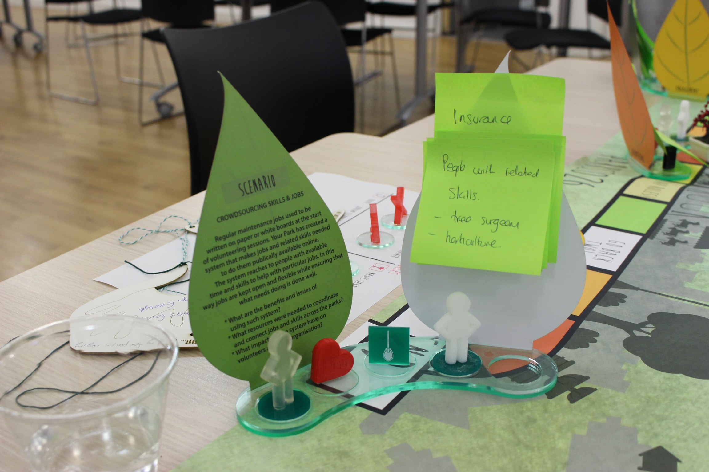 The workshops used a bespoke board game style process so people could share ideas about the future of the parks